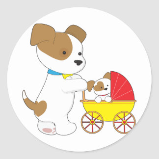Cute Puppy Baby Carriage Classic Round Sticker