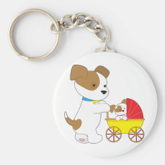 Cute Puppy Baby Carriage Keychain