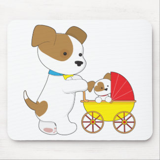 Cute Puppy Baby Carriage Mouse Pad