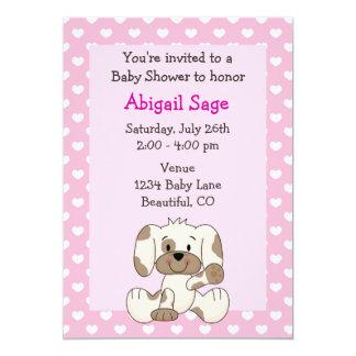Cute Puppy Baby Girl Shower Invitation