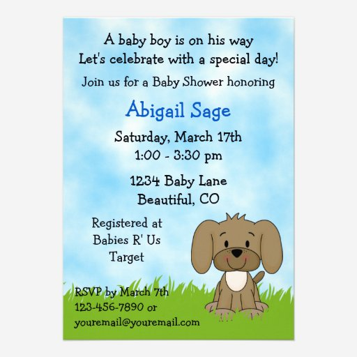 Custom puppy dog invitations invites templates babyfavors4u cute puppy baby shower invitation for boys filmwisefo Image collections