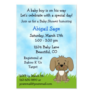 Puppy baby shower invitations zazzle cute puppy baby shower invitation for boys filmwisefo
