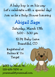 Puppy dog baby shower invitations zazzle cute puppy baby shower invitation for boys filmwisefo