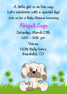 Puppy dog baby shower invitations zazzle cute puppy baby shower invitation for girls filmwisefo