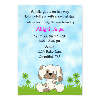 Cute Puppy Baby Shower Invitation for Girls
