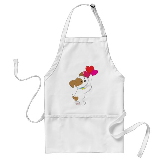 Cute Puppy Balloons Adult Apron