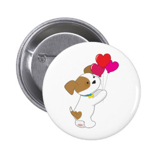 Cute Puppy Balloons Pinback Button