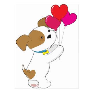 Cute Puppy Balloons Postcard