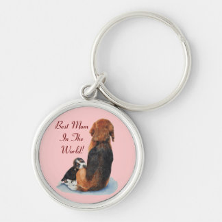 Cute puppy beagle and mom dog portrait pink keychain