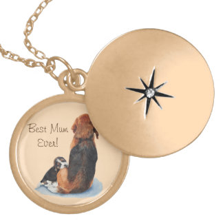cute puppy beagle and mum dog realist art gold plated necklace