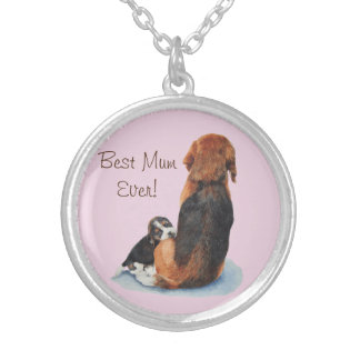 cute puppy beagle and mum dog realist art silver plated necklace