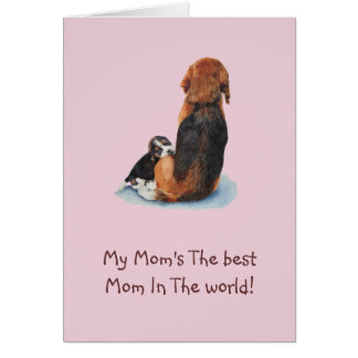Cute puppy beagle cuddling mom dog realist art card