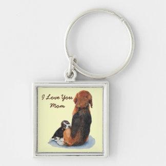 Cute puppy beagle cuddling mom dog realist art keychain