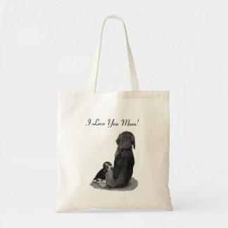 Cute puppy beagle cuddling  mum dog realist art tote bag