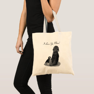 Cute puppy beagle with mom dog black and white art tote bag