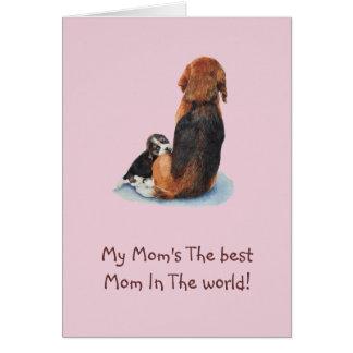 Cute puppy beagle with mom dog realist art card