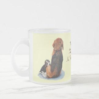 Cute puppy beagle with mum dog realist art frosted glass coffee mug