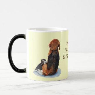 Cute puppy beagle with mum dog realist art 11 oz magic heat Color-Changing coffee mug