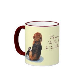 Cute puppy beagle with mum dog realist art ringer coffee mug