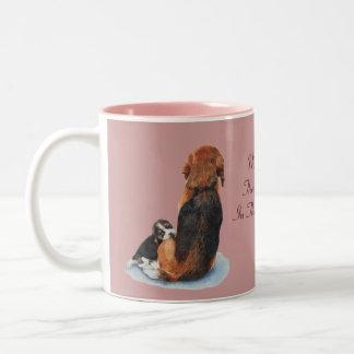 Cute puppy beagle with mum dog realist art Two-Tone coffee mug