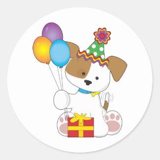 Cute Puppy Birthday Classic Round Sticker