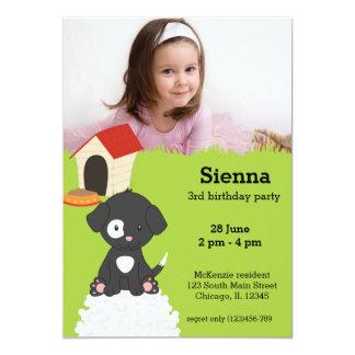 Cute puppy birthday 5x7 paper invitation card