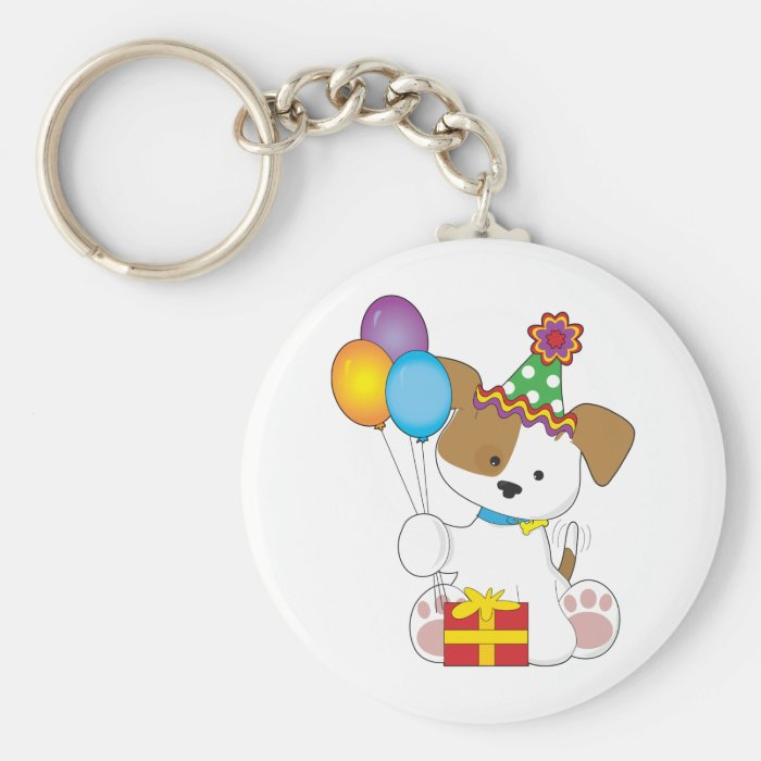 Cute Puppy Birthday Keychain