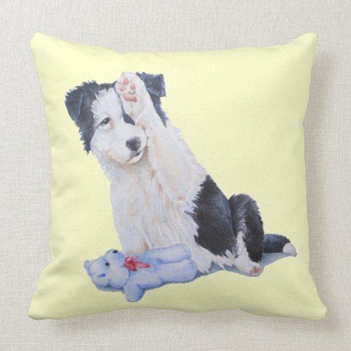 Cute puppy border collie and teddy dog art cushion pillows Zazzle