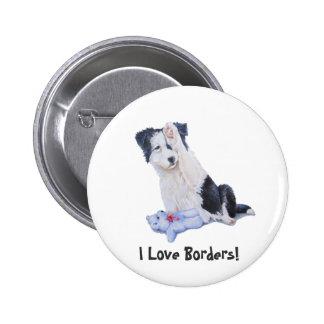 Cute puppy border collie realist dog art button pin