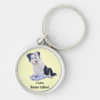 Cute puppy border collie realist dog art keychain