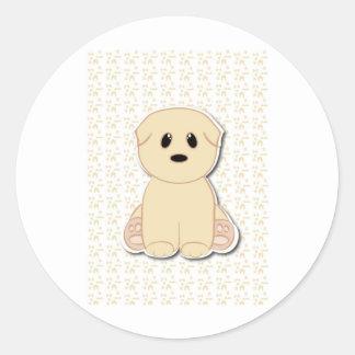 Cute puppy cartoon classic round sticker