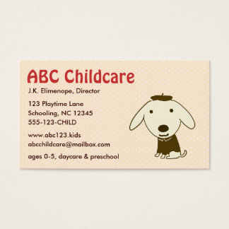 Cute Puppy Child Care - Education Business Card