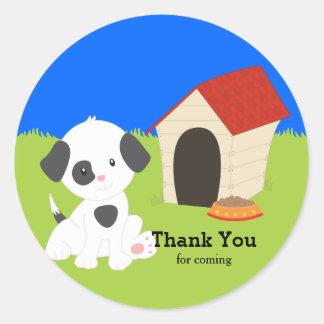 Cute puppy classic round sticker