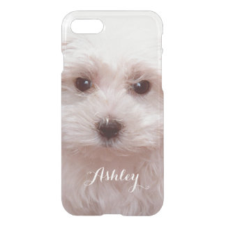 Cute Puppy Close Up Face with Custom Monogram Name iPhone 7 Case