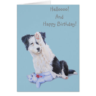 Cute puppy collie realist dog art birthday card