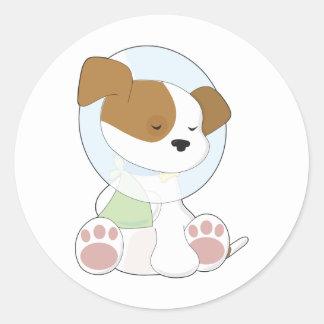 Cute Puppy Cone Classic Round Sticker