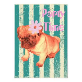 cute puppy daisy green stripes sad pug card