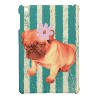 cute puppy daisy green stripes sad pug iPad mini covers