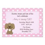 "Cute Puppy Dog 1st Birthday Invitation for Girls 5"" X 7"" Invitation Card"