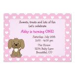 Cute Puppy Dog 1st Birthday Invitation for Girls
