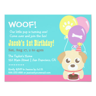 Cute Puppy Dog and Balloons Birthday Party Card