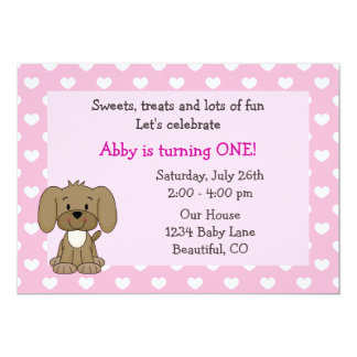 Cute Puppy Dog and Hearts Girls Pink 1st Birthday Card