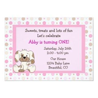 Cute Puppy Dog and Polka Dots Girls 1st Birthday 5x7 Paper Invitation Card