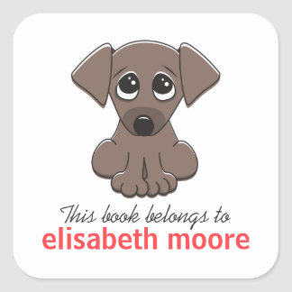 Cute puppy dog animal cartoon bookplate square sticker