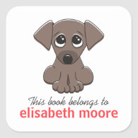 Cute puppy dog animal cartoon bookplate square sticker