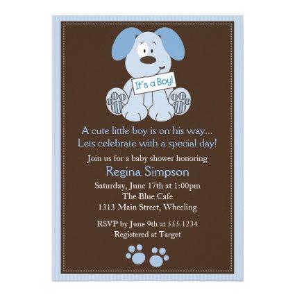 Cute Puppy Dog Baby Shower Invitation Blue