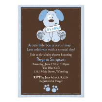 "Cute Puppy Dog Baby Shower Invitation Blue 5"" X 7"" Invitation Card"