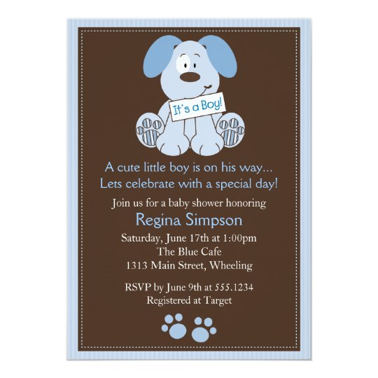 Cute puppy dog baby shower invitation blue zazzle cute puppy dog baby shower invitation blue filmwisefo Image collections