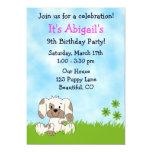 Cute Puppy Dog Birthday Invitation for Girls