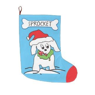 Cute Puppy Dog Candy Cane Dog Bone Personalized Large Christmas Stocking